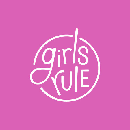hand movement: Vector illustration in simple style with hand-lettering phrase girls rule - stylish print for poster or t-shirt - feminism quote and woman motivational slogan
