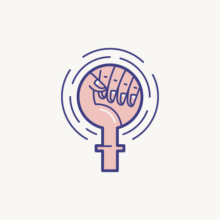 Vector illustration in line flat style - feminism concept - female fist and sign - fighting for rights symbol Illustration