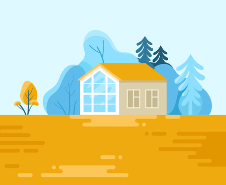 Vector illustration in l flat style - landscape with house and trees Illustration