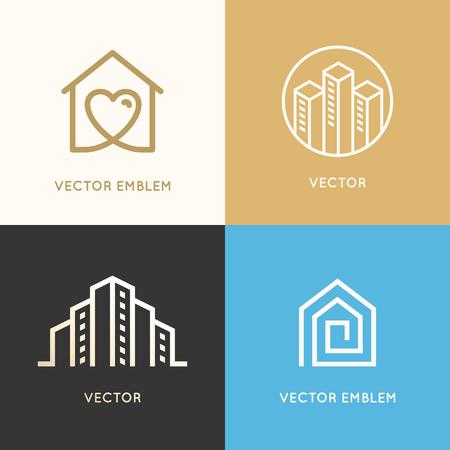 Vector set logo-ontwerpelementen en emblemen gerelateerd aan bouw-, renovatie- en vastgoedindustrie - gebouwen - huis met hart, stadshorizon