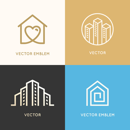 Vector set of logo design elements and emblems related to construction, renovation and real estate industry - buildings - house with heart, city skyline Иллюстрация