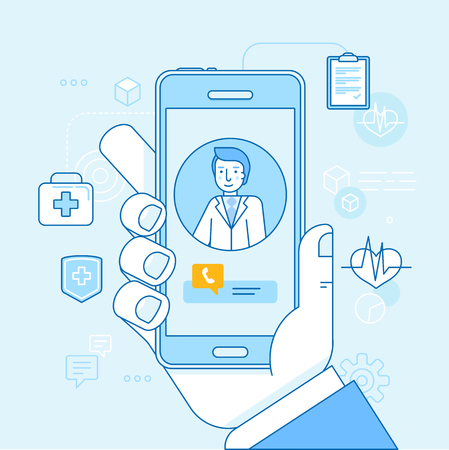 Vector illustration in linear flat style and blue colors - online and tele medicine concept - hand holding mobile phone with app for healthcare - online consultation with doctor Vettoriali