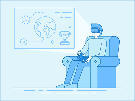 Vector illustration in linear flat style and blue colors - man sitting in the armchair with virtual reality glasses playing online games