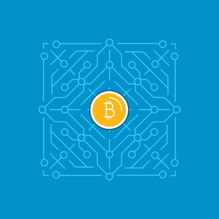 Vector illustration in line flat style and blue colors - bitcoin and crypto currency concept - mining digital money -  virtual payment system infographics