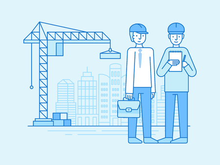 Vector illustration in line flat style and blue colors - construction and building industry - two engineers with plan and briefcase in helmets - landscape with city construction and crane