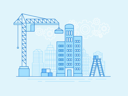 Vector illustration in line flat style and blue colors - construction and development industry concept - crane with block for building house and city landscape