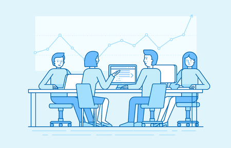 Vector illustration in line flat style and blue colors - team with four people working in the office at the computers for online internet business or start up - men and women sitting at the desktop in open coworking space