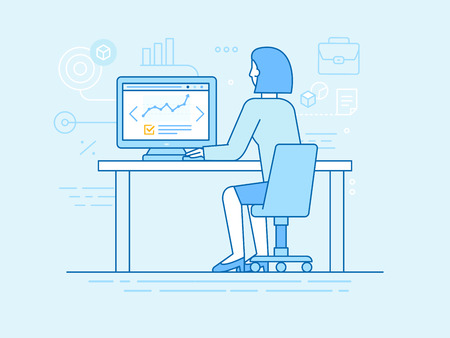 girl: Vector illustration in line flat style and blue colors - woman sitting at the computer - outsource project manager working remotely - business development concept