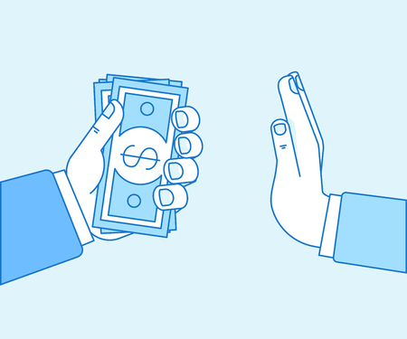Vector illustration in flat linear style and blue color - stop corruption concept - hand giving bribe in cash Illustration