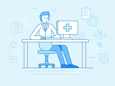 technology: Vector illustration in linear flat style and blue colors - online and tele medicine concept -  online consultation with doctor -man sitting at the desk with computer