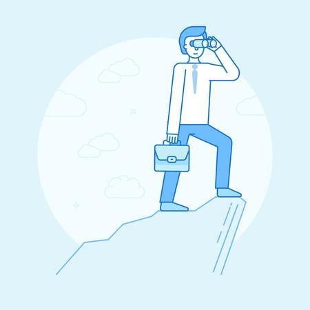 perspectiva lineal: Ilustración vectorial en estilo lineal plano y color azul - hombre de negocios mirando a través de prismáticos para las tendencias futuras y la perspectiva de las empresas y el desarrollo - elemento de diseño de infografías y el concepto