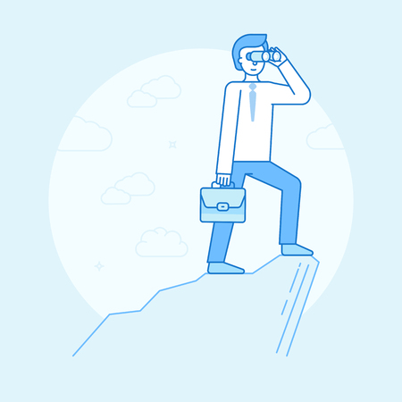 Vector illustration in flat linear style and blue color - business man looking through binoculars for future trends and business perspective and development - infographics design element and concept