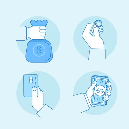 평면 선형 스타일 및 파랑 색 - 돈, 지폐, 동전과 가방 - 금융 아이콘 및 개념을 들고 손에서 벡터 일러스트
