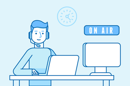 Vector illustration in flat linear style and blue color - broadcaster man on air - online interview - guy sitting at the desk with laptop and computer