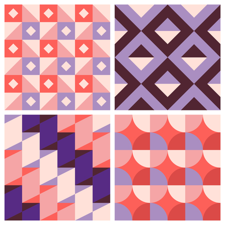 tile pattern: Vector trendy abstract seamless patterns in modern minimal style with geometric shapes and stripes - design templates for packaging, banners, prints, stationery and posters in red, pink and violet colors Illustration