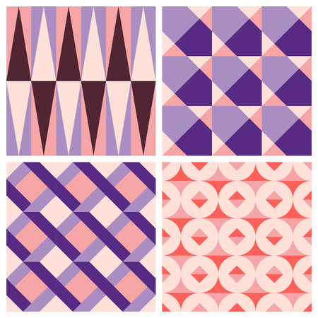 paper texture: Vector trendy abstract seamless patterns in modern minimal style with geometric shapes and stripes - design templates for packaging, banners, prints, stationery and posters in red, pink and violet colors Illustration