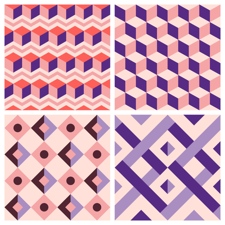 violet red: Vector trendy abstract seamless patterns in modern minimal style with geometric shapes and stripes - design templates for packaging, banners, prints, stationery and posters in red, pink and violet colors Illustration