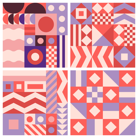 texture: Vector trendy abstract seamless patterns in modern minimal style with geometric shapes and stripes - design templates for packaging, banners, prints, stationery and posters in red, pink and violet colors Illustration
