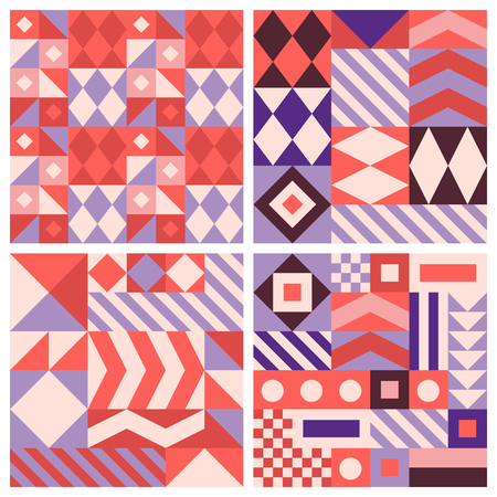 textured: Vector trendy abstract seamless patterns in modern minimal style with geometric shapes and stripes - design templates for packaging, banners, prints, stationery and posters in red, pink and violet colors Illustration