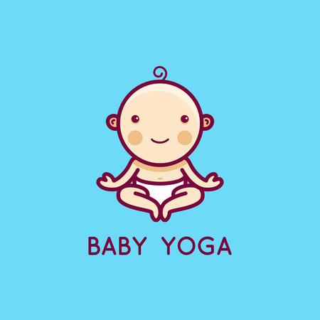 Vector logo design template in cartoon flat linear style - little smiling baby doing yoga - love and care concept -  emblem, mascot, sticker or badge for kids activity class