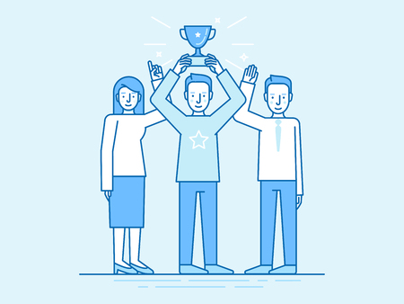 business team: Vector illustration in flat linear style and blue color - successful team concept - leader holding trophy cup and partners standing with hands up - winning business competition