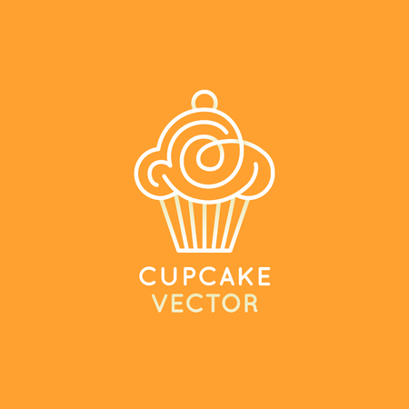 Vector logo design template and insignia in flat linear style - sweet cupcake - emblem for confectionery store, bakery and cafe - baking tasty cakes business
