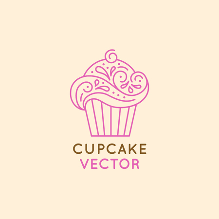Vector logo design template and insignia in flat linear style - sweet cupcake - emblem for confectionery store, bakery and cafe - baking tasty cakes business Banco de Imagens - 83918407