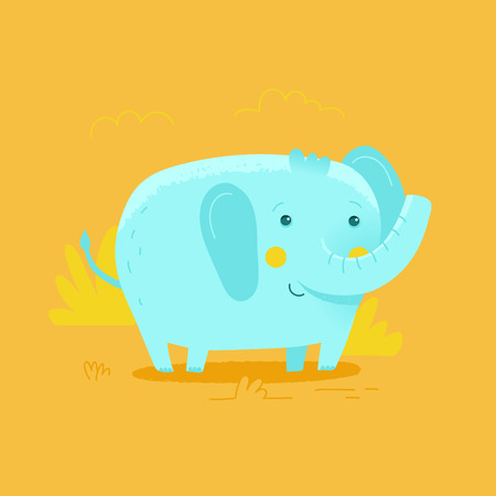 Vector illustration and design template in cartoon flat linear style - little smiling elephant