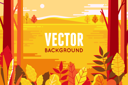 Vector illustration in flat linear style - autumn background - landscape illustration with plants, trees and copy space for text - for autumn banners