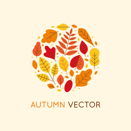 Vector logo design template and insignia in flat linear style - circle made with autumn leaves - seasonal concept and nature emblem