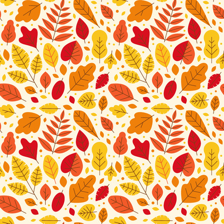 Vector seamless pattern in simple clean modern flat linear style with bright autumn leaves - abstract background for wrapping paper, wallpaper, banners and illustrations Ilustracja