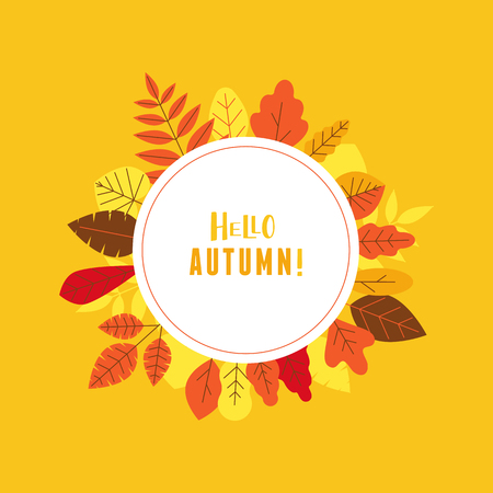 Vector illustration in simple flat style with autumn leaves - seasonal sale background for banner with copy space for text