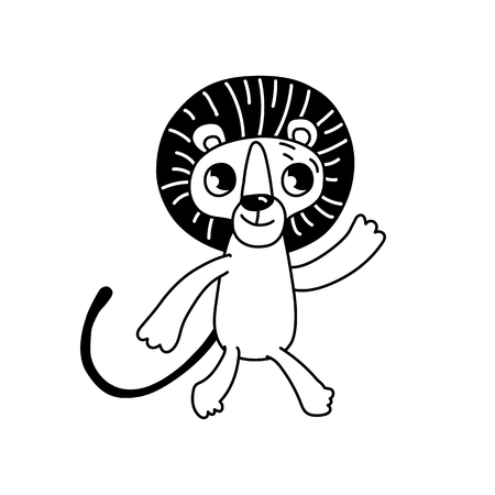 Vector logo design template in cartoon flat linear style - little smiling lion - emblem, sticker or badge for kids store Illustration
