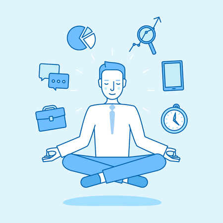 Vector illustration in flat linear style and blue color - business man sitting and meditating in lotus pose - effective business management concept
