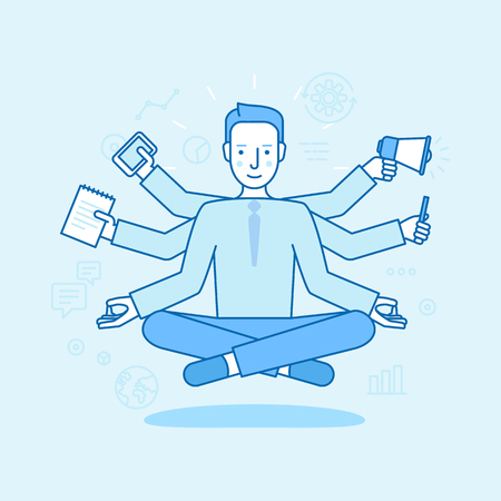 Vector illustration in flat linear style and blue color - business man sitting and meditating in lotus pose with six hands - multitasking concept - freelance work and effective time management
