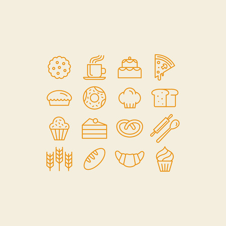 Vector set of linear icons and illustrations related to bakery - collection of outline signs with sweet bread, cakes, pizza, croissant. Stock Vector - 85389015