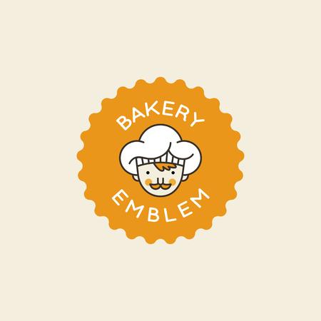 흰색 모자 - 빵집, 제과 저장소, 카페 관련 뱃지에서 남성 요리와 벡터 로고 디자인 템플릿.