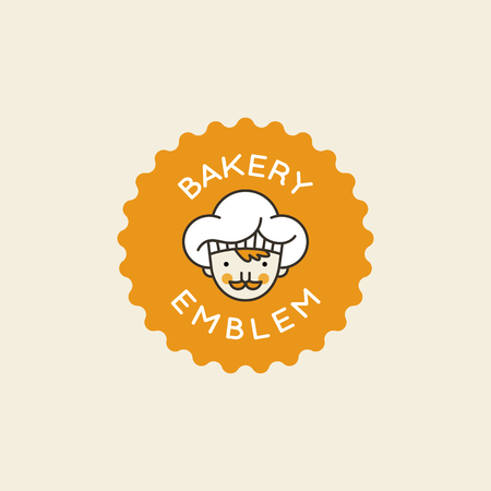 Vector logo design template with male cook in white hat - badge related to bakery, confectionery store, cafe.