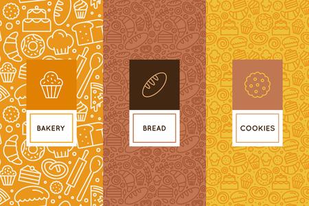 デザイン テンプレートとトレンディな線形スタイルでパン屋さんの包装用アイコン パン、カフェ、ケーキ ショップに関連する線形とシームレスなパターンの要素のベクトルを設定。 写真素材 - 85389021