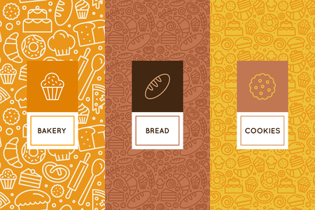 Vector set of design templates and elements for bakery packaging in trendy linear style - seamless patterns with linear icons related to baking, cafe, cupcake shop.
