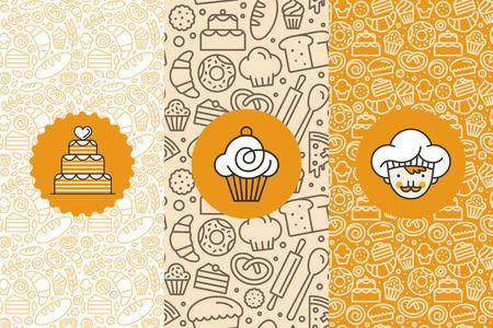 Vector conjunto de plantillas de diseño y elementos para el envasado de panadería en estilo lineal de moda - patrones transparentes con iconos lineales relacionados con la hornada, cafetería, tienda de magdalena y plantillas de diseño de logotipo. Logos