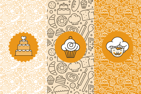 Vector set of design templates and elements for bakery packaging in trendy linear style - seamless patterns with linear icons related to baking, cafe, cupcake shop and logo design templates. Çizim