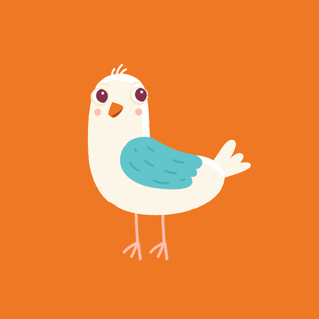 template: Vector cartoon illustration in simple childish style with bird - nursery room print template, design element for greeting card or stationery for kids and children - happy cartoon character.