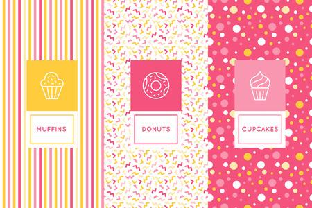 Vectorreeks ontwerpmalplaatjes van het embleem en naadloze patronen in vlakke lineaire stijl voor verpakking - zoete cupcakes - emblemen voor banketbakkerijopslag, bakkerij en koffie.