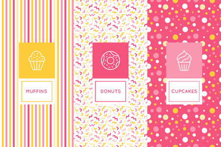 Vector set of logo design templates and seamless patterns in flat linear style for packaging - sweet cupcakes - emblems for confectionery store, bakery and cafe.