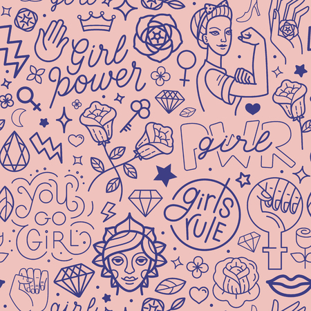 Vector seamless pattern with icon and hand-lettering phrases related to girl power and feminist movement - abstract background for prints, t-shirts, cards.