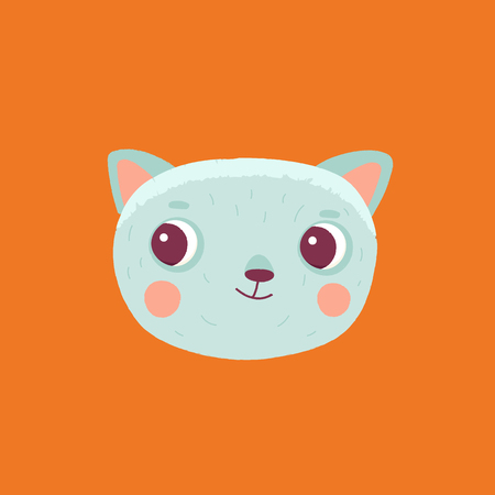 template: Vector cartoon illustration in simple childish style with cat - nursery room print template, design element for greeting card or stationery for kids and children - happy cartoon character.