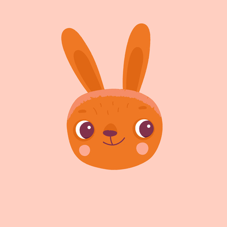 template: Vector cartoon illustration in simple childish style with rabbit - nursery room print template, design element for greeting card or stationery for kids and children - happy cartoon character. Illustration