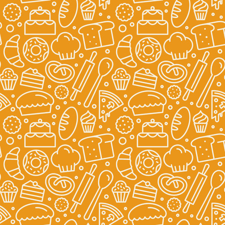 Vector seamless pattern with linear icons and illustrations related to bakery, cafe, cupcake shop - packaging design wrapping paper and background design in yellow colors.