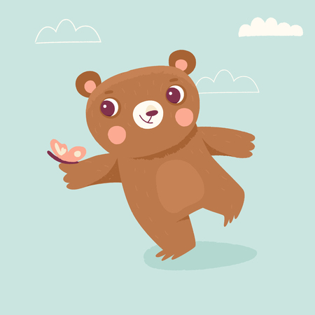 Vector cartoon illustration in simple childish style with bear - nursery room print template, design element for greeting card or stationery for kids and children - happy cartoon character